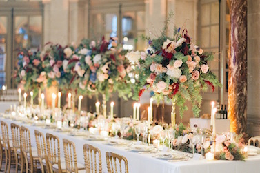 Photo of a wedding table decoration captured at wedding in Paris planned by Fête in France