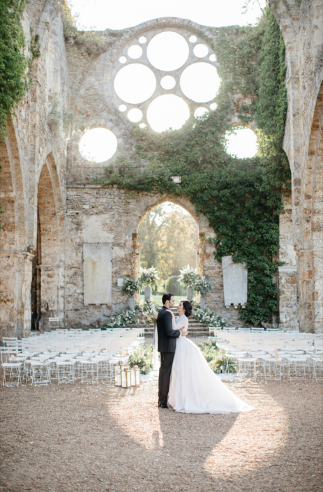 French abbey wedding planned by Fête in France