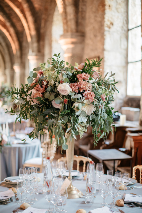 French abbey wedding florals