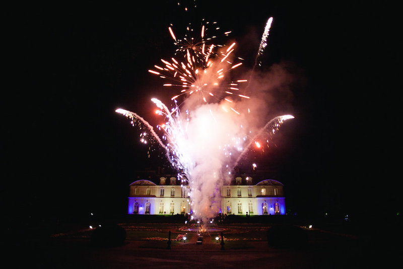 Fireworks at French chateau wedding in the Loire Valley