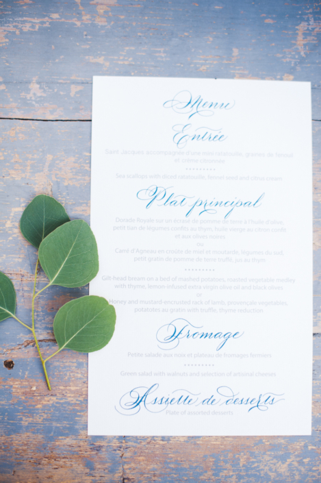 Provence wedding custom menus