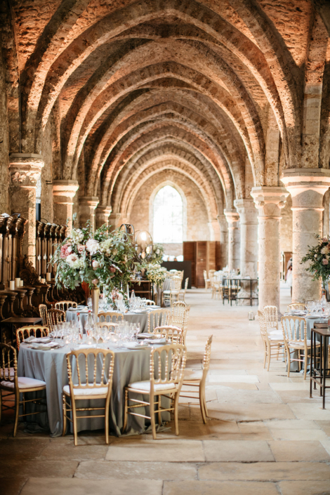 Wedding reception historic Abbey hotel wedding planned by Fête in France