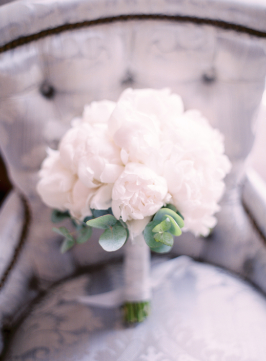 Paris wedding bouquet with white peonies