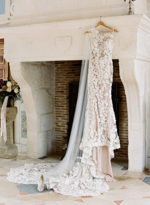 Wedding dress for a French chateau wedding