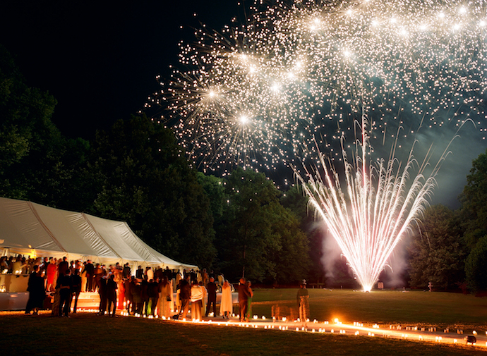 Luxury French wedding with fireworks