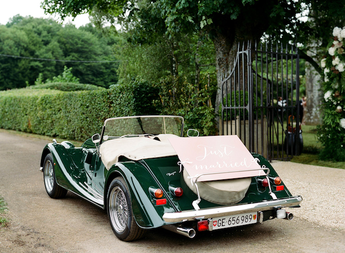 French wedding vintage car