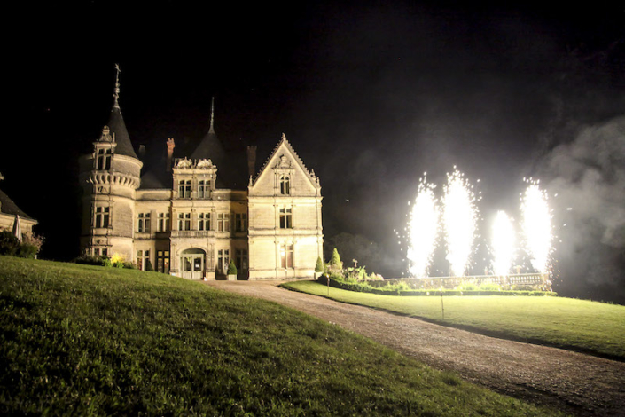 French château wedding fireworks