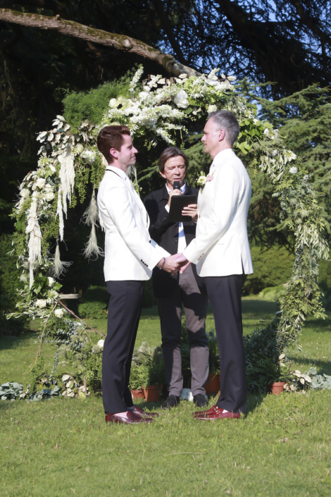 Same-sex wedding in France garden ceremony
