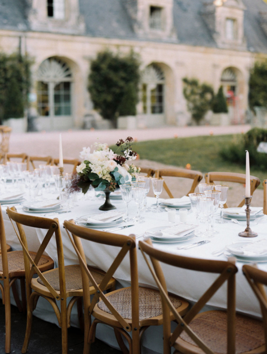 Château wedding reception planned by Fête in France