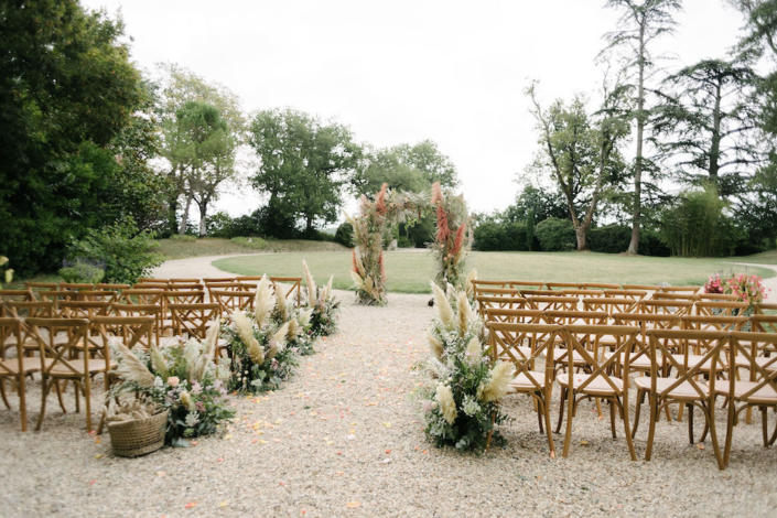 Pampas grass wedding ceremony