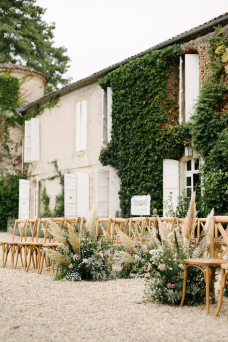 Pampas grass wedding ceremony in France