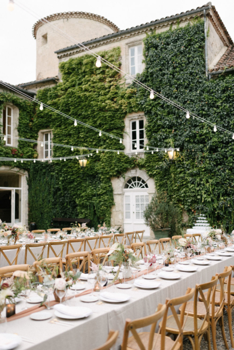 French countryside château wedding reception planned by Fête in France