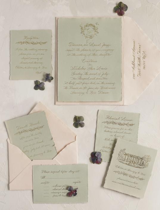 Invitations de mariages vert et rose - Wedding planner France