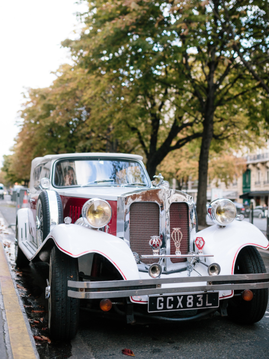 Paris wedding vintage getaway car
