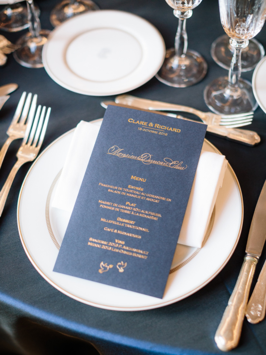 Luxury Paris wedding custom printed menu