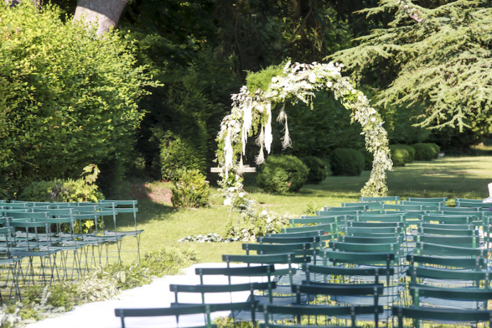 Cérémonie dans jardin exterieur vallée de la Loire