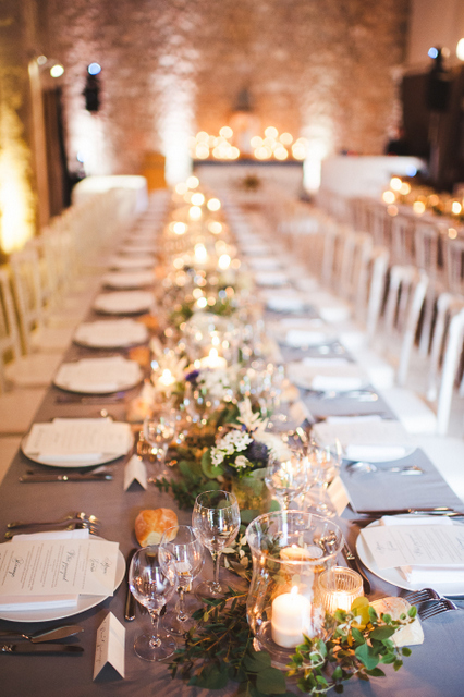 Provence wedding reception with long tables