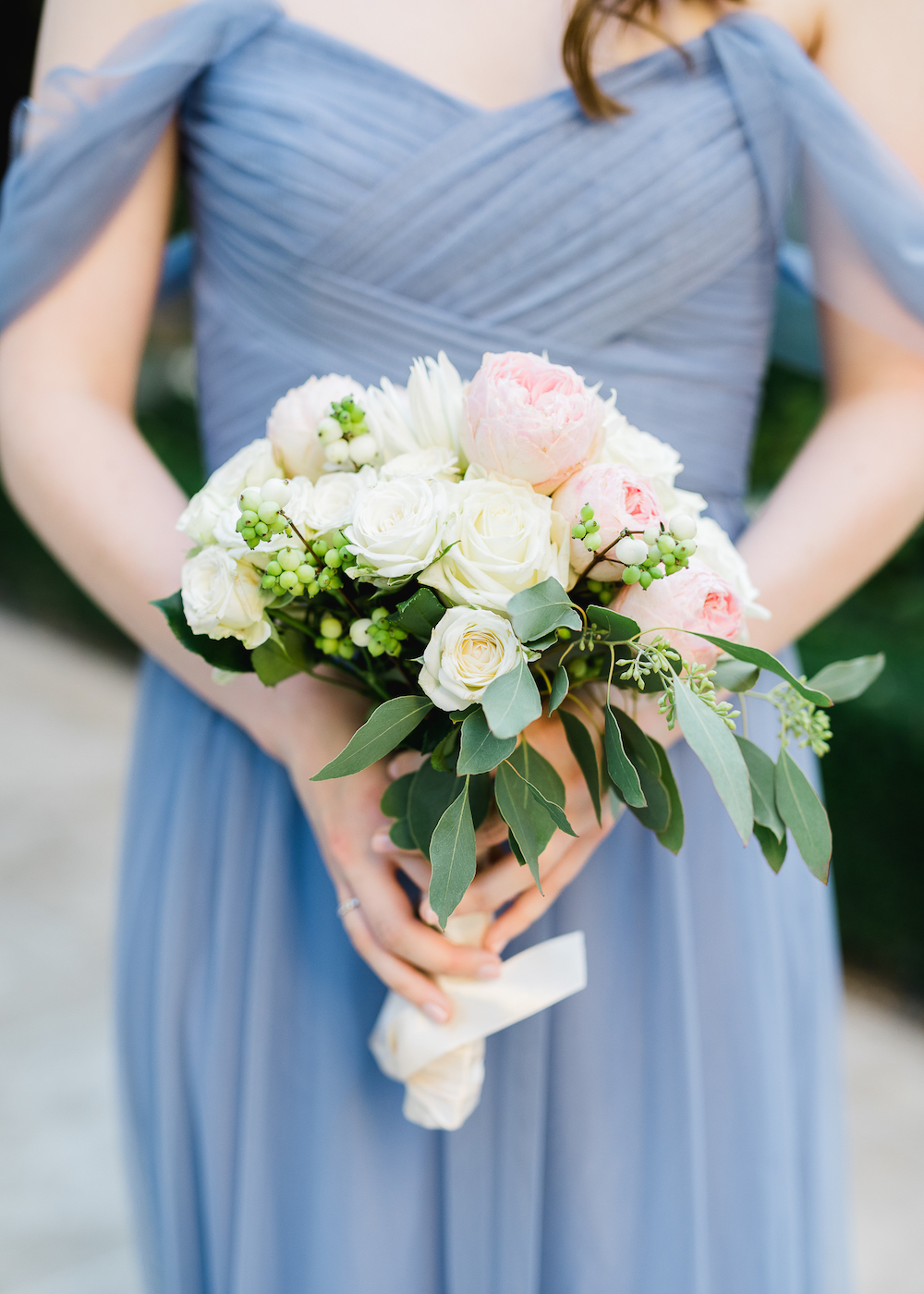 Blue bridesmaid dress for a Paris wedding