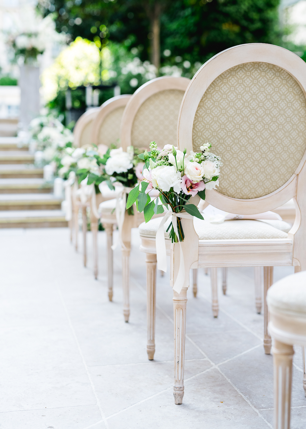 Wedding ceremony aisle decoration at the Ritz Paris